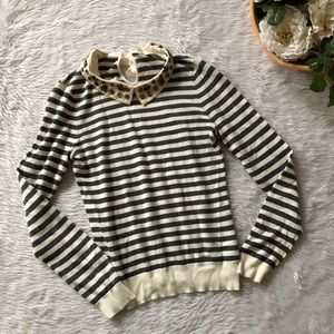 Moth Knit Striped Beaded Neck Top